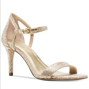 Gold Michael Kors Simone Strappy Heals Size 8